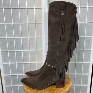 Bronx Women's Suede Leather Fringe Boots